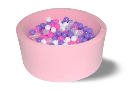 Сухой бассейн Фиолетовые пузыри 40см с 200 шариками: розовый, белый, фиолетовый, прозр