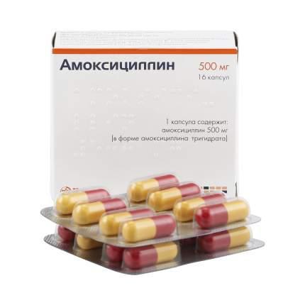 Амоксициллин капсулы 500 мг 16 шт. Hemofarm