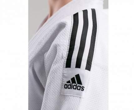 Кимоно для дзюдо с поясом подростковое Adidas Club белое с черными полосками 140 см