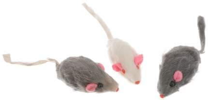 Мягкая игрушка для кошек Ebi мышь из натурального меха с погремушкой, бежевый, 5 см