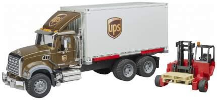 Машина спецслужбы Bruder Фургон Mack UPS с погрузчиком и паллетами 02-828