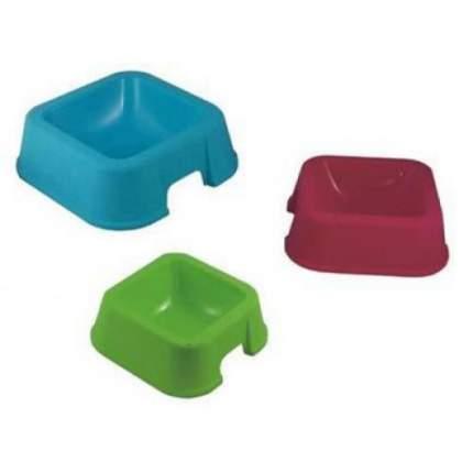 Одинарная миска для кошек и собак MP-Bergamo, пластик, голубой, зеленый, красный, 0.5 л