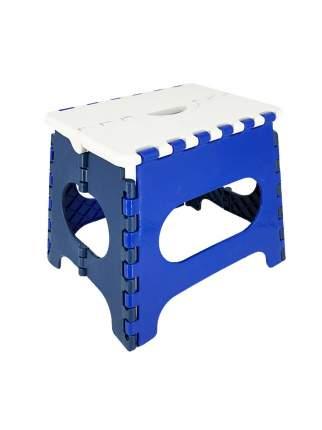 Табурет Трикап складной пластиковый средний белая крышка, синяя основа