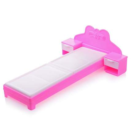 ОГОНЕК Мебель для кукол Кровать, цвет: розовый с-1387