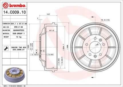 Тормозной барабан BREMBO 14.C009.10