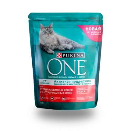 Сухой корм для кошек ONE, для стерилизованных, лосось, 0,75кг