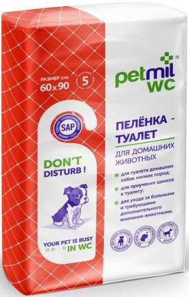 Пеленка-туалет для домашних животных PETMIL WC, 60 x 90 см, 5 штук