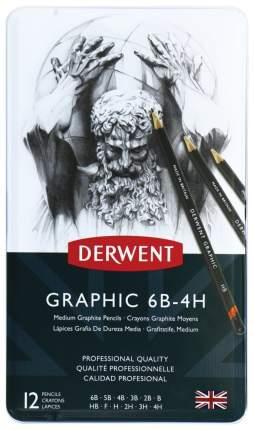 Набор чернографитных карандашей Grathic Medium, 12 штук, 6B-4H