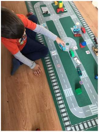 Игровой скотч Автомобильная дорога с дорожной разметкой для машинок 20 м