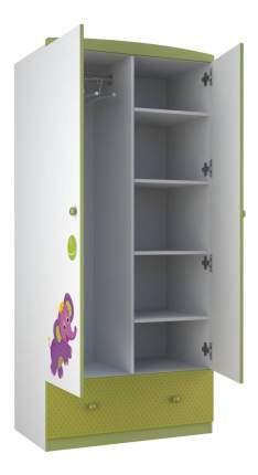 Детский шкаф двухсекционный Polini Basic Elly белый-зеленый