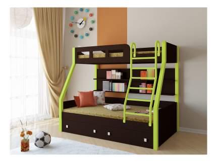 Двухъярусная кровать РВ мебель Рио каркас венге/салатовый венге