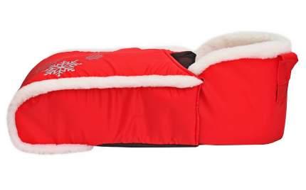 Утеплитель меховой для санок универсальный с конвертом для ног на молнии красный