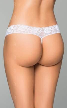 Трусики на широкой кружевной резинке с жемчужной нитью, белые, M/L