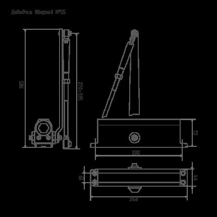 Доводчик дверной НОРА-М 5S морозостойкий (от 120 до 160 кг) - Коричневый