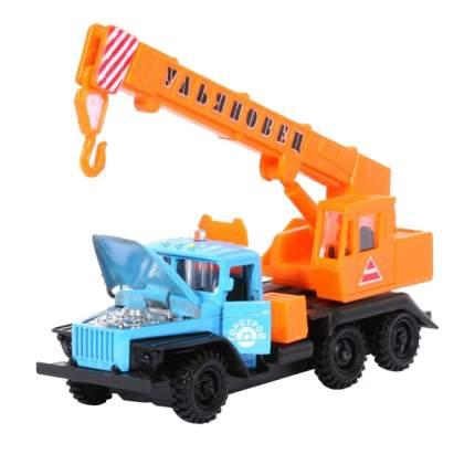 Машина Технопарк инерционная, металлическая УРАЛ кран голубой, кабина оранжевая