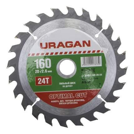 Диск по дереву для дисковых пил Uragan 36801-160-20-24