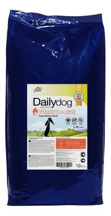Сухой корм для щенков Dailydog Puppy Medium Breed, для средних пород, индейка и рис, 12кг