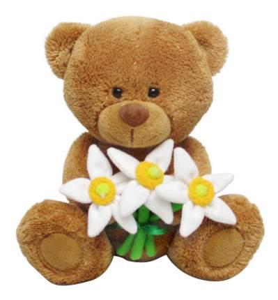 Мягкая игрушка LAVA Медвежонок Сэмми с нарциссами 17,5 см музыкальный