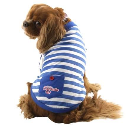 Футболка для собак Triol размер L мужской, синий, белый, длина спины 35 см