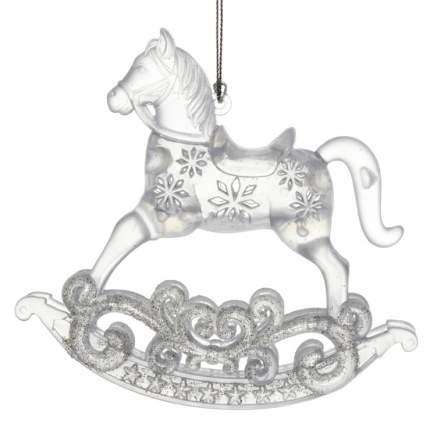 Елочная игрушка Лошадка-Качалка 12 см серебряная, подвеска 151090