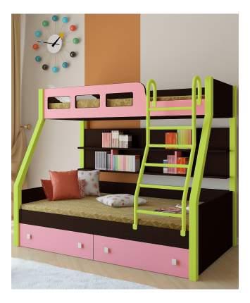 Двухъярусная кровать РВ мебель Рио каркас венге/салатовый розовая