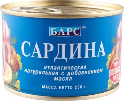 Сардина атлантическая натуральная Барс с добавлением масла 250 г