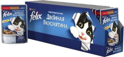 Влажный корм для кошек Felix Двойная вкуснятина, домашняя птица, 24шт, 85г