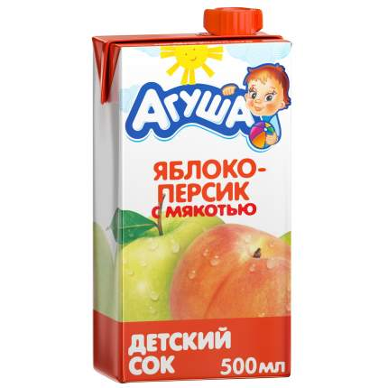 Сок Агуша Яблоко и персик с мякотью с 3 лет 500 мл