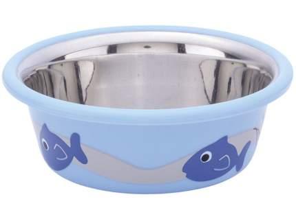 Миска для животных Nobby, металлическая с резиновым основанием, с рисунком, голубая, 250мл