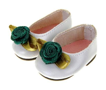 Туфли белые с зеленым цветком, для кукол 32 см