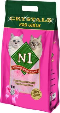 Наполнитель для кошачьего туале №1 Crystals For Girls, силикагелевый без запаха, 5л, 2,1кг