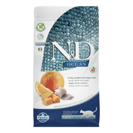 Сухой корм для кошек Farmina N&D Ocean Adult, сельдь с апельсином и тыквой, 0,3кг