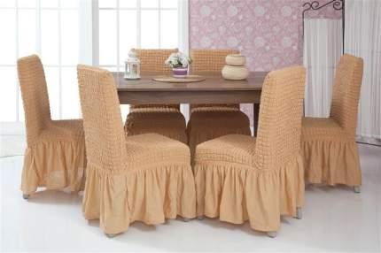 """Чехлы на стулья с оборкой Venera """"Chair cover"""", цвет: светло-коричневый, комплект 6 шт"""