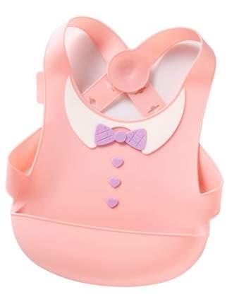 Нагрудник силиконовый с застежкой на спине Little Angel розовый