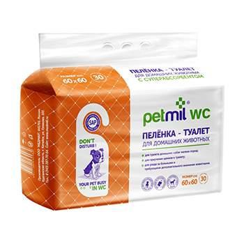 Пеленка-туалет для домашних животных PETMIL WC 60x60 см 30 штук