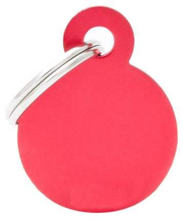Адресник My Family Basic алюминиевый круглый для кошек и собак (2,5 см, Красный)