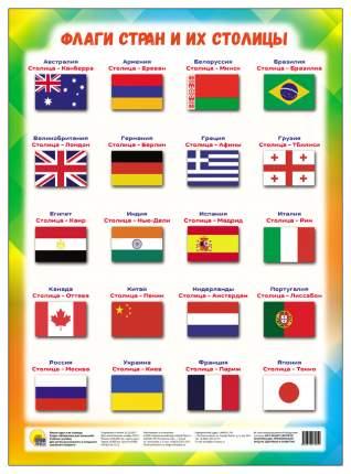 Плакат проф-Пресс Флаги Стран и Их Столицы. Шпаргалки для Малышей А4