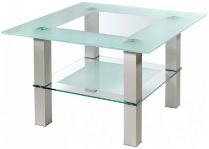 Журнальный столик Мебелик Кристалл 1 1134 75х75х51 см, алюминий/прозрачное