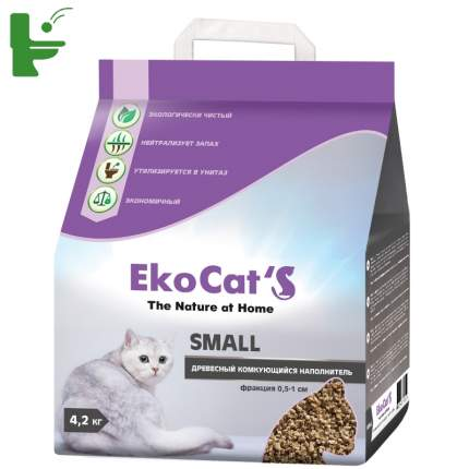 Комкующийся наполнитель для кошек Eko Cat's Small древесный, 4.2 кг, 10 л