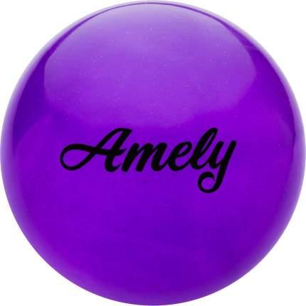 Мяч для художественной гимнастики Amely AGB-102, 19 см, фиолетовый, с блестками