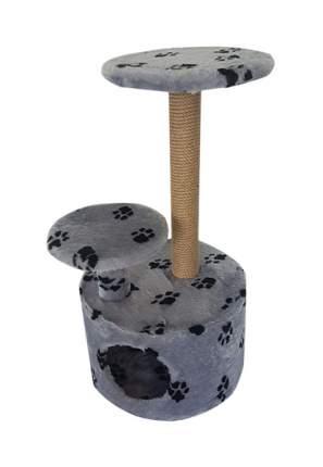 Комплекс для кошек Пушок Круглый со ступенькой Светло-серый с лапками