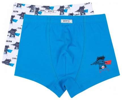 Трусы для мальчика Barkito 2 шт., голубые и белые с рисунком волчок р.98-104