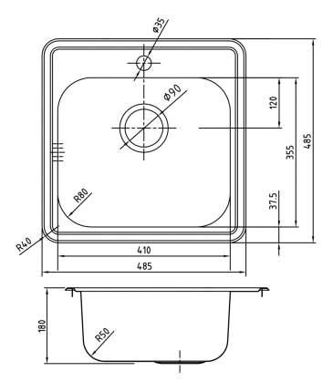Мойка для кухни из нержавеющей стали IDDIS Strit STR48S0i77