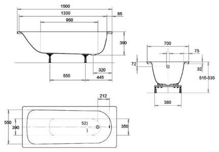 Стальная ванна KALDEWEI Eurowa Form Plus 150х70 без гидромассажа