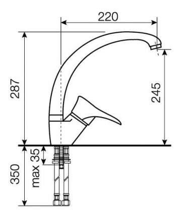 Смеситель для кухонной мойки LAVA SG03 LAV черный металлик