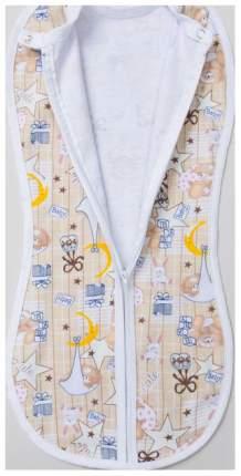 Пеленка-кокон на молнии с шапочкой, рост 50-68 см, цвет бежевый принт1182 Детская линия