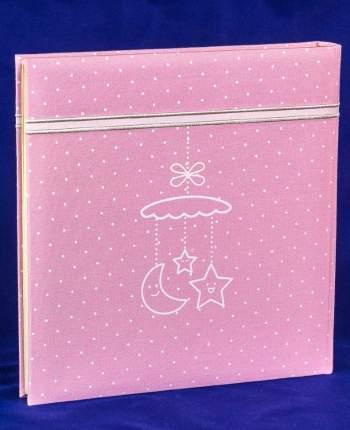 """Фотоальбом детский """"Вышивка"""" розовая тканевая обложка, 60 магнитных страниц 31х32 см"""