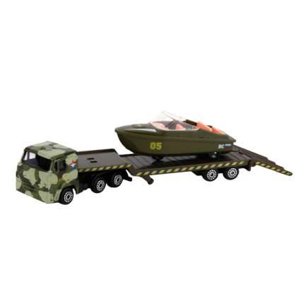 Набор Технопарк металл. камаз транспортер военный с лодкой