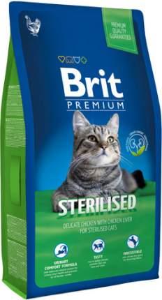 Сухой корм для кошек Brit Premium Sterilised, для стерилизованных, курица, печень, 8кг