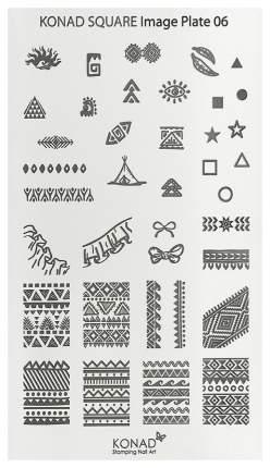 Трафареты для ногтей KONAD Пластины для стемпинга Square Image Plate 06